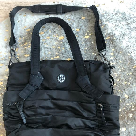 5a9150e0baa lululemon athletica Bags | Black Triumph Yogagym Bag Ruched Duffel ...